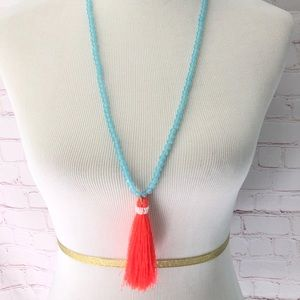 J. Crew Blue and Coral Tassel Necklace NWOT